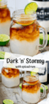 Two image collage of dark and stormy cocktail in a mason jar glass