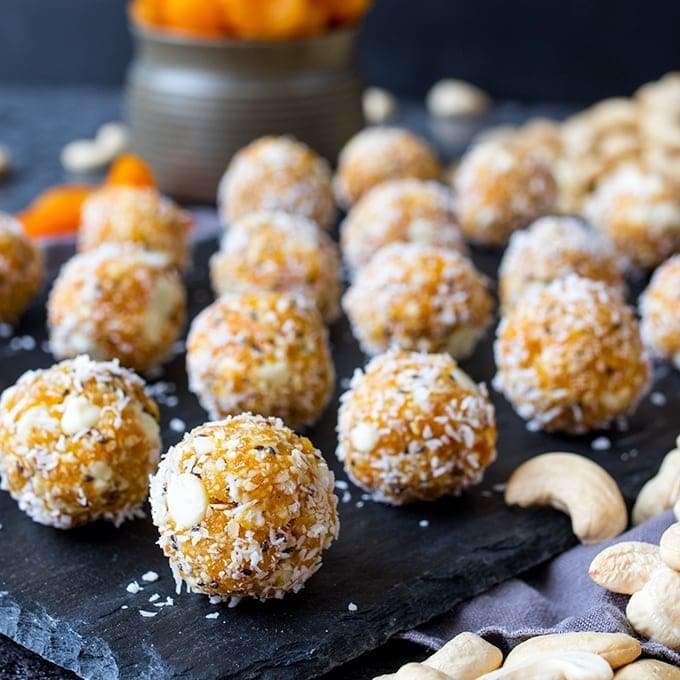 Cashew Apricot White Chocolate Energy Balls