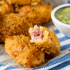 Ham Hock and Cheddar Croquettes with honey mustard dip. A delicious make ahead party food or snack that's baked not fried!