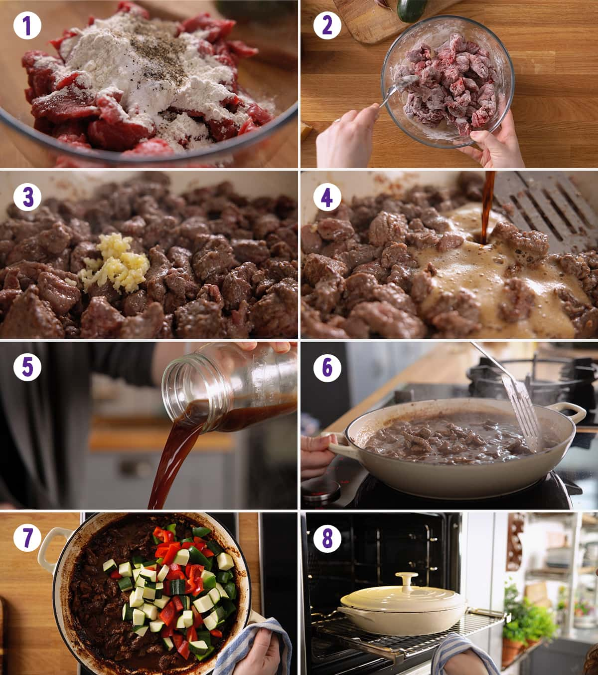 8 image collage showing how to make summer beef casserole