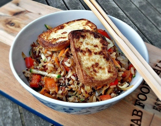 warm rice and quinoa salad with pan fried tofu