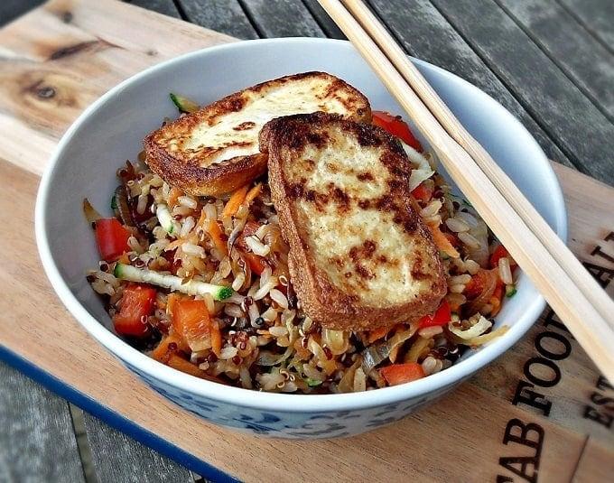 warm rice and quinoa salad with pan fried tofu