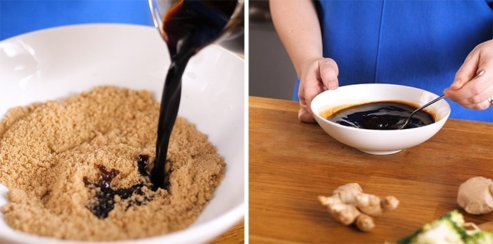 Soy sauce being poured into a white bowl with brown sugar and stirred together