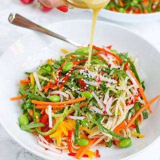 Rainbow noodle salad with Dijon mustard dressing