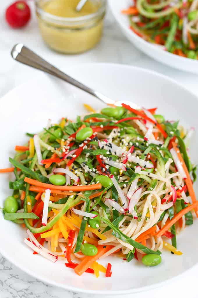 Rainbow noodle salad with Dijon mustard dressing - A crisp, light summer salad with a delicious zingy dressing!
