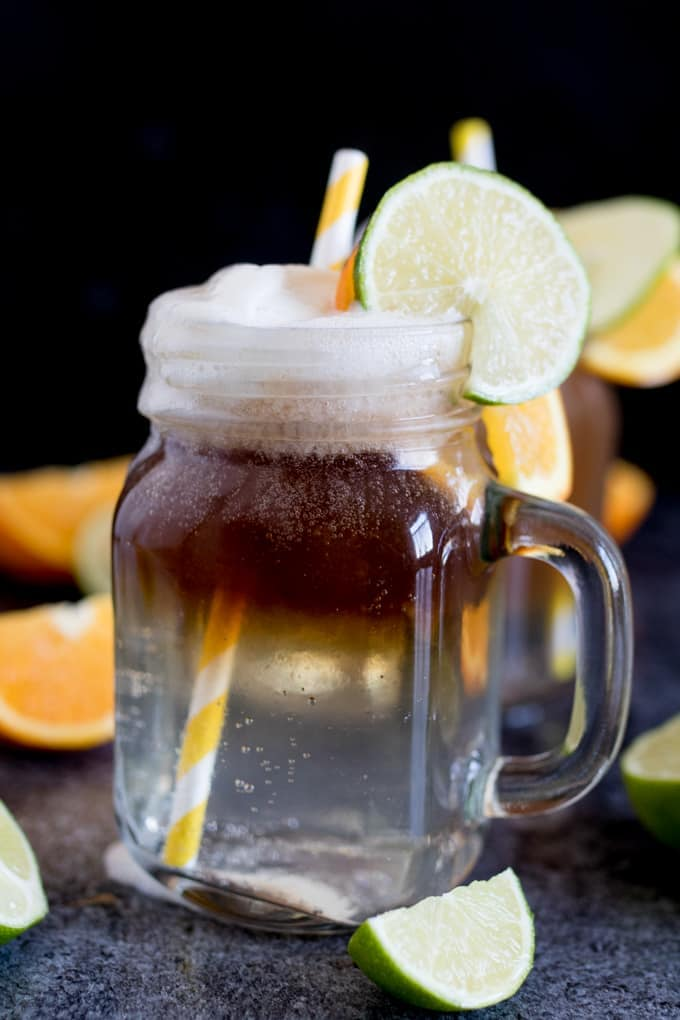 Spiced Rum Float with Lemon Sorbet - a wickedly good drink for the weekend!