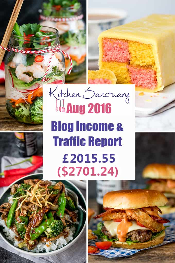 August 2016 Income and Traffic report for Kitchen Sanctuary Blog