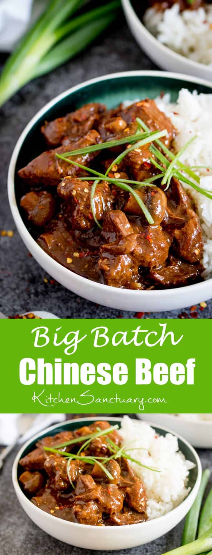 Big Batch Chinese Beef - A tasty, make-ahead meal of slow-cooked saucy Chinese beef. Perfect when you're cooking for a crowd! #Chinese #Beef #Cookingforacrowd #bigbatch