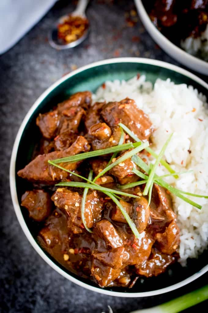 Overhead photo of Big Batch Chinese Beef in a bowl with rice