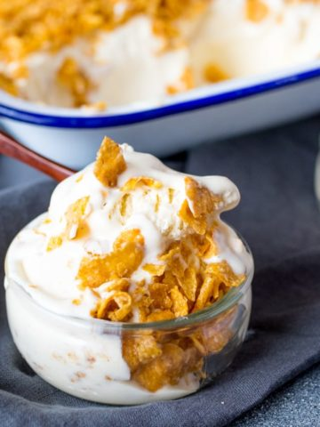 An easy make-at-home ice cream with all the flavor of cereal milk! (Crunchy Nut Cornflake flavour) No ice-cream maker required!