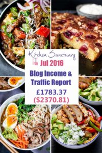 July 2016 Income and Traffic report for Kitchen Sanctuary Blog