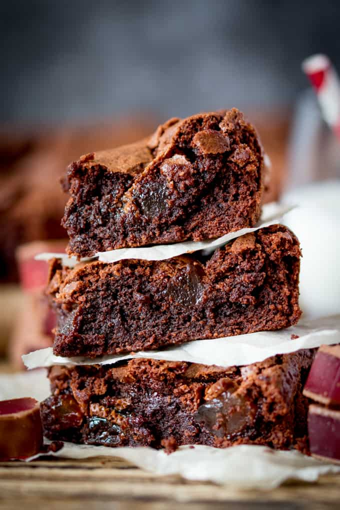 Turkish Delight Brownies - squidgy chocolate brownies with a crisp, meringue-like top, stuffed with chunks of chocolate-covered Turkish delight.