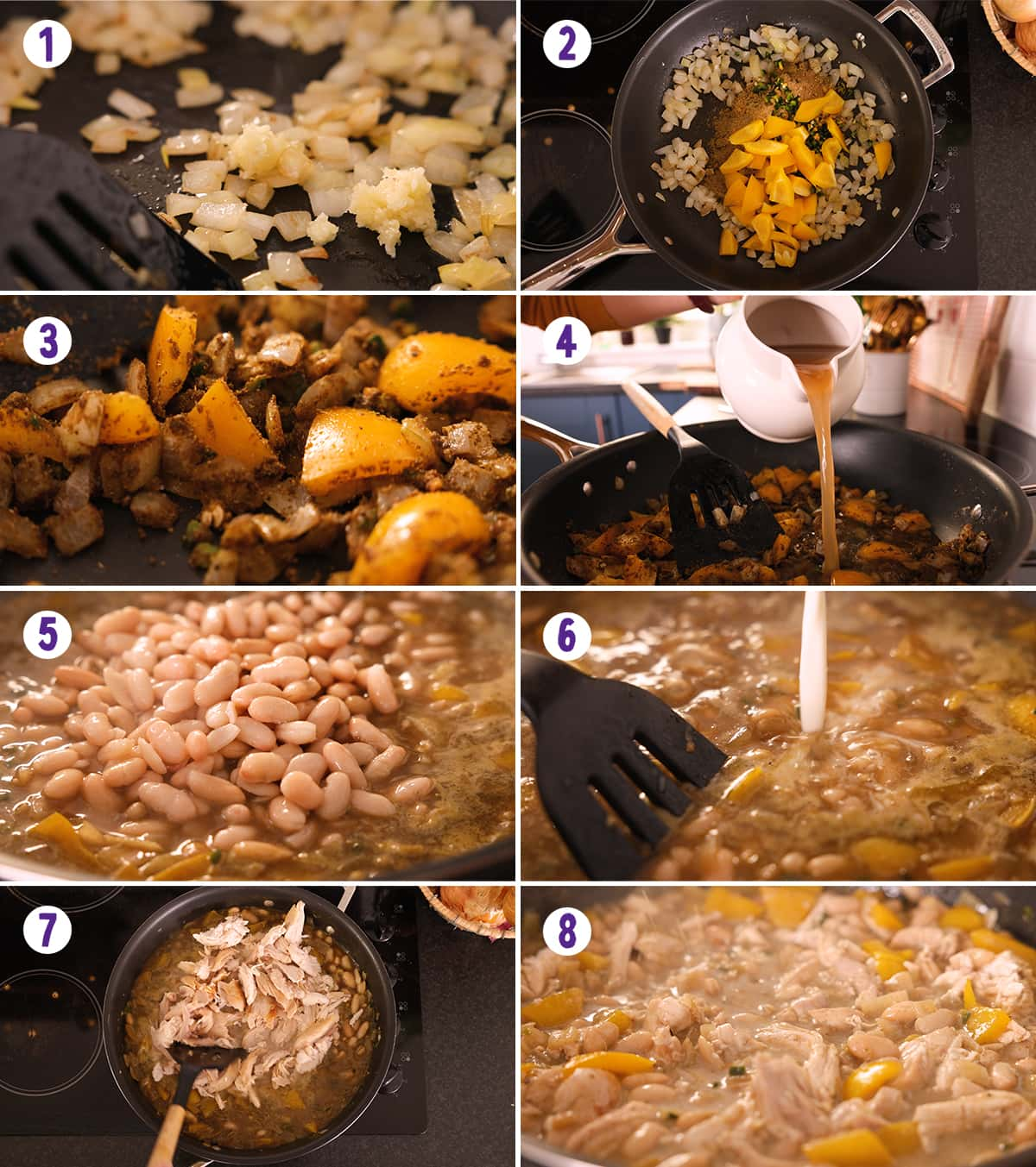 8 image collage showing how to make white chilli chicken con carne