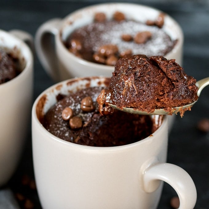 Caramel chocolate mug cake – filled with Rolos – when you need dessert NOW! The perfect quick dessert for one.
