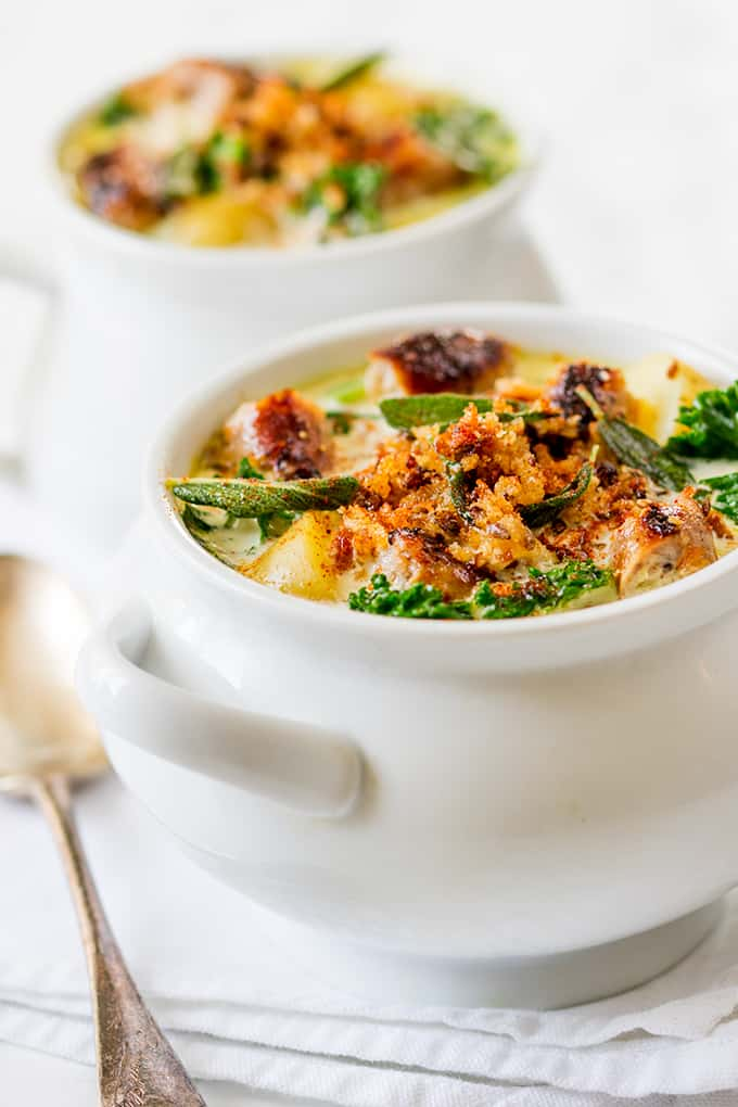 Creamy Sausage Soup with Buttered Breadcrumbs and Sage - a proper posh soup!
