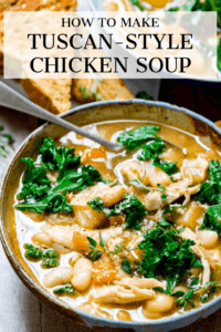 Tuscan Chicken Soup in a bowl with text overlay