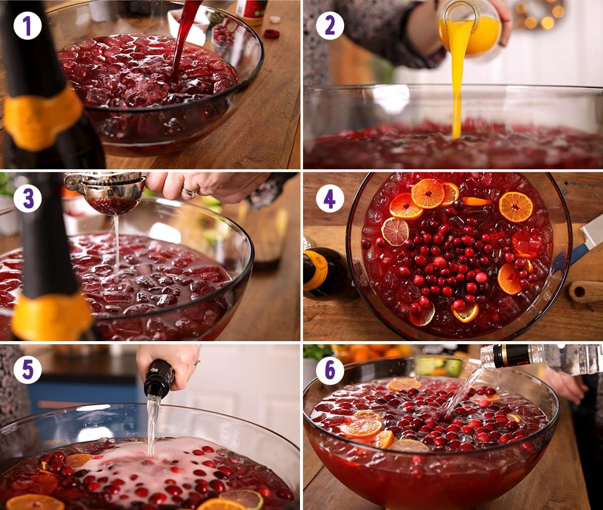 6 image collage showing how to make Christmas Punch