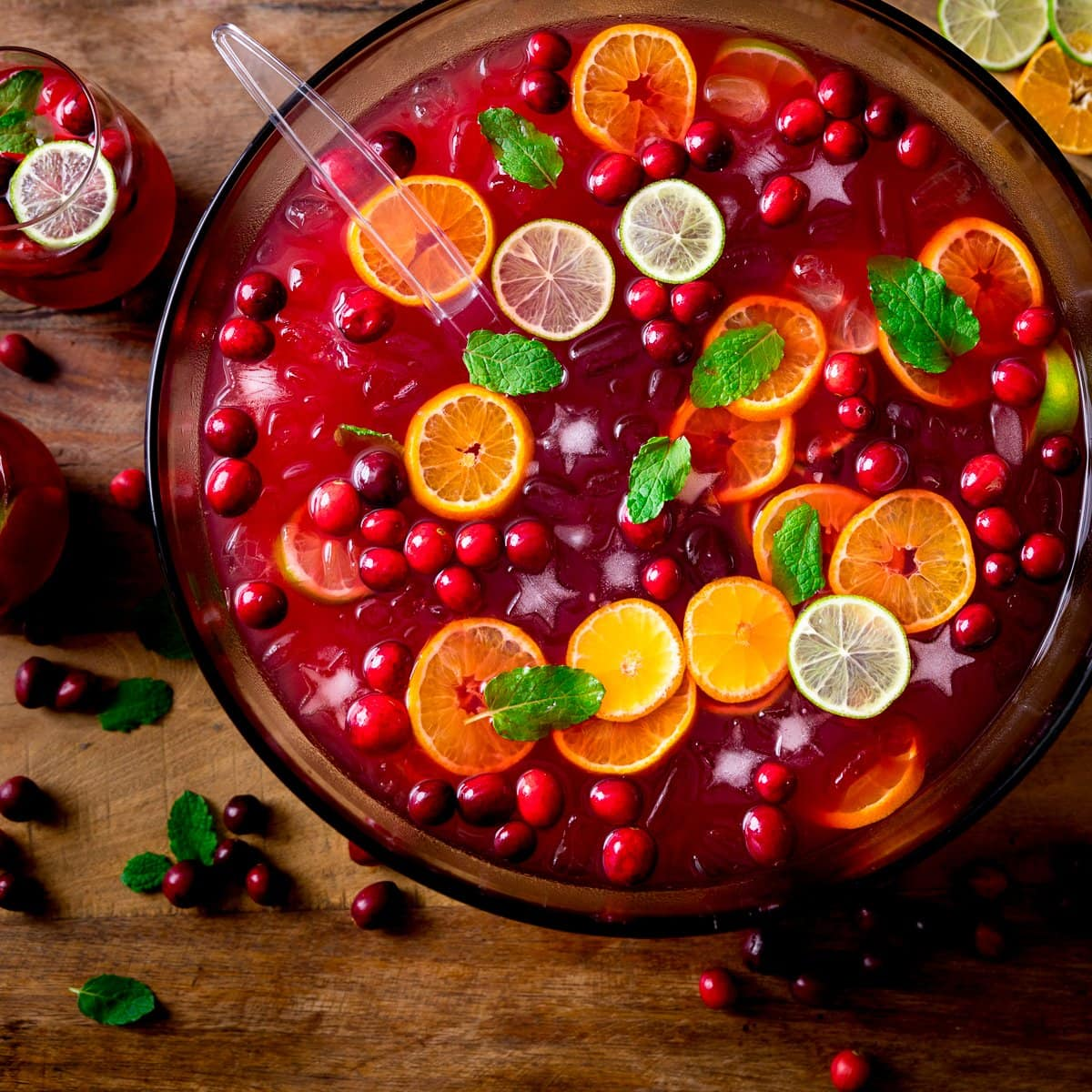 Square image of Festive Punch in a bowl topped with slices of citrus fruits and cranberries