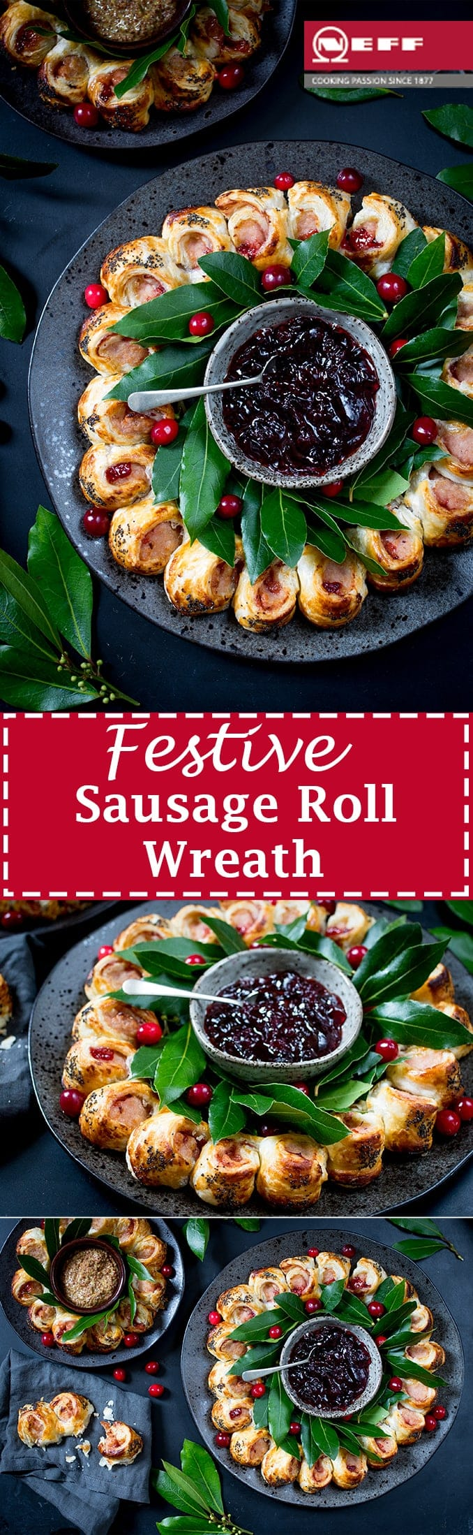This easy festive sausage roll wreath looks amazing on any party table. Topped with a honey mustard gaze and poppy seeds! #PartyFood #Recipe #SausageRoll