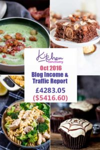 Blog Traffic and Income Report October 2016 for Kitchen Sanctuary. How I earned over $5k!