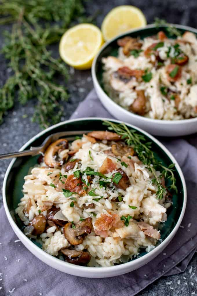 Rich and creamy turkey, mushroom and Pancetta Risotto - A great way to use up that mountain of leftover Turkey! It's also gluten free!