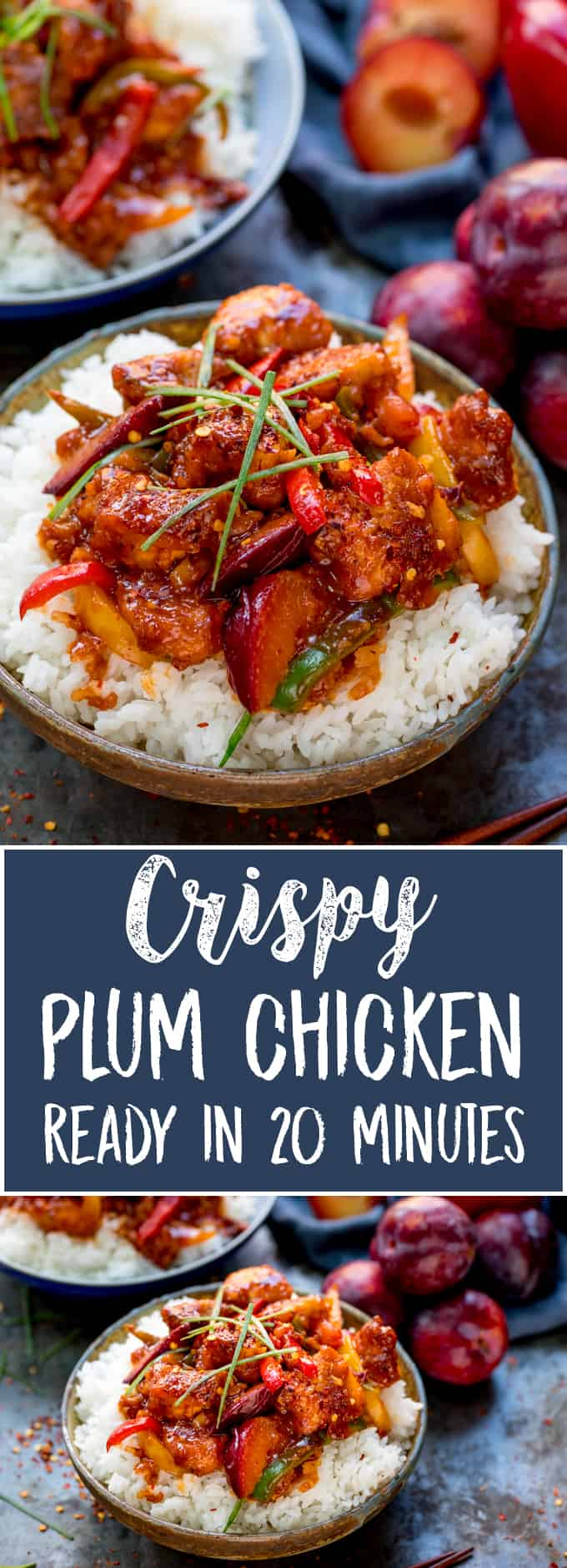 A spicy chicken dinner that makes a great takeout alternative! My Crispy Chinese Plum Chicken with Sticky Chilli Sauce is super-quick to make (20 minutes!).  Also, check out my trick to save on the washing up! #chinesechicken #plumchicken #crispychicken #chickenstirfry #chilechicken