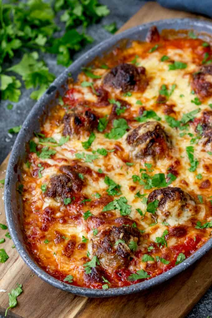 Overhead photo of One-Pot Cheesy Baked Meatballs