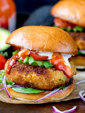 Cheesy Veggie Chickpea Burgers - easy to prepare and taste amazing!! Coated in breadcrumbs and lightly fried until crisp. Meat free and easy to make ahead!