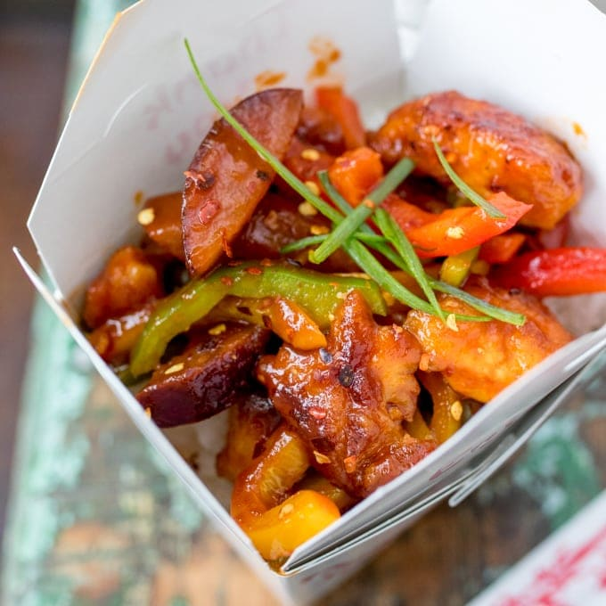 Crispy Chilli Plum Chicken – with a trick to save on the washing up too. A sticky Asian chicken meal made without the shop-bought sauce.