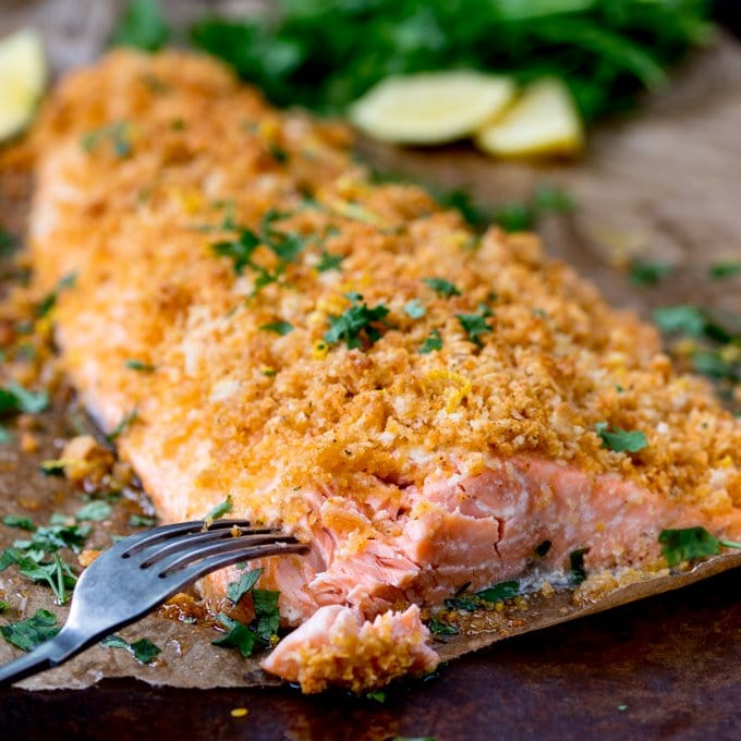 Garlic Bread Crusted Salmon