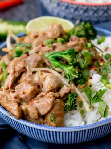 This simple Thai style peanut pork melts in the mouth! Made with peanut butter, spices and coconut milk it's easy and delicious!