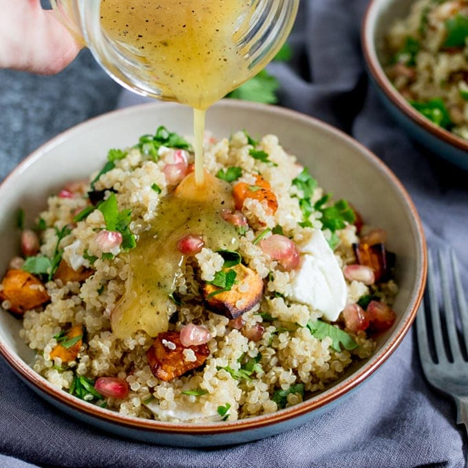 Warm Quinoa And Goats Cheese Salad With Honey Mustard Vinaigrette