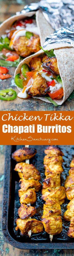 Chicken Tikka Chapati Burritos - the made-from-scratch marinade is so tasty and easy too! Makes a great alternative to sandwiches for the lunchbox!