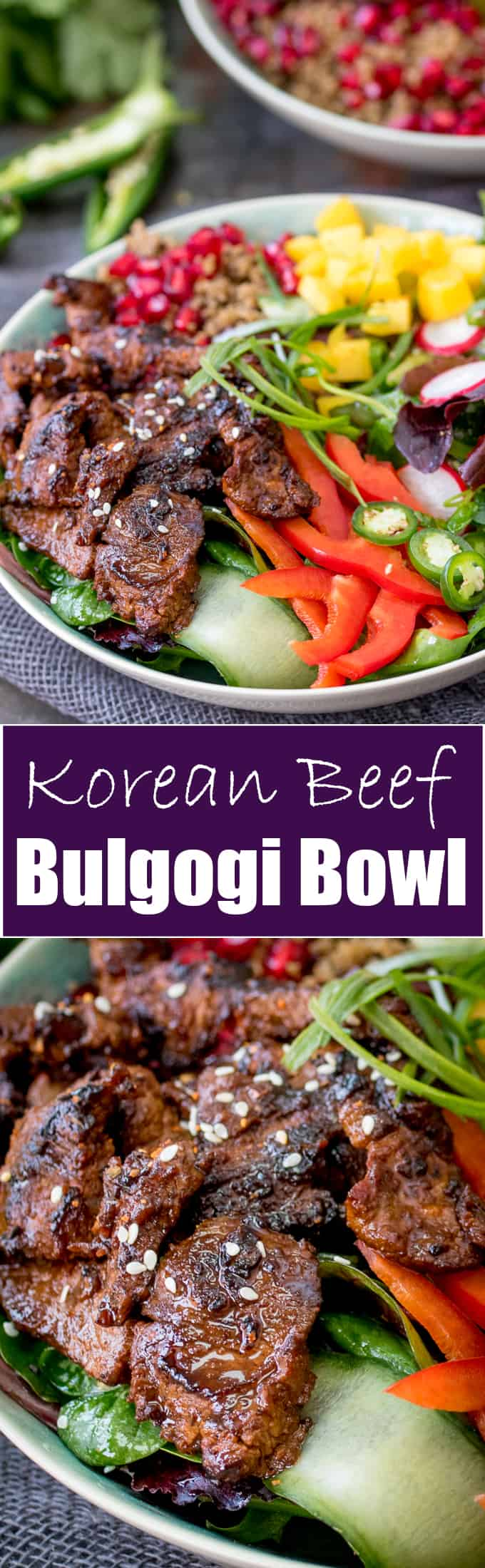 This Korean Beef Bulgogi Bowl is bursting with spicy flavour! Marinated, then grilled or fried and served with a vibrant, crunchy salad.