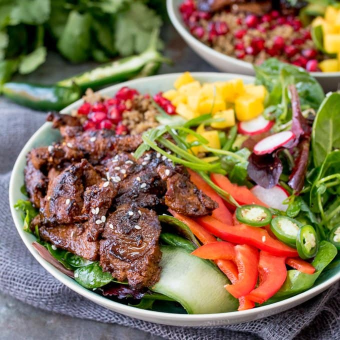 Oh my! This Korean Beef Bulgogi Bowl is bursting with spicy flavour! Marinated, then grilled or fried and served with a vibrant, crunchy salad.