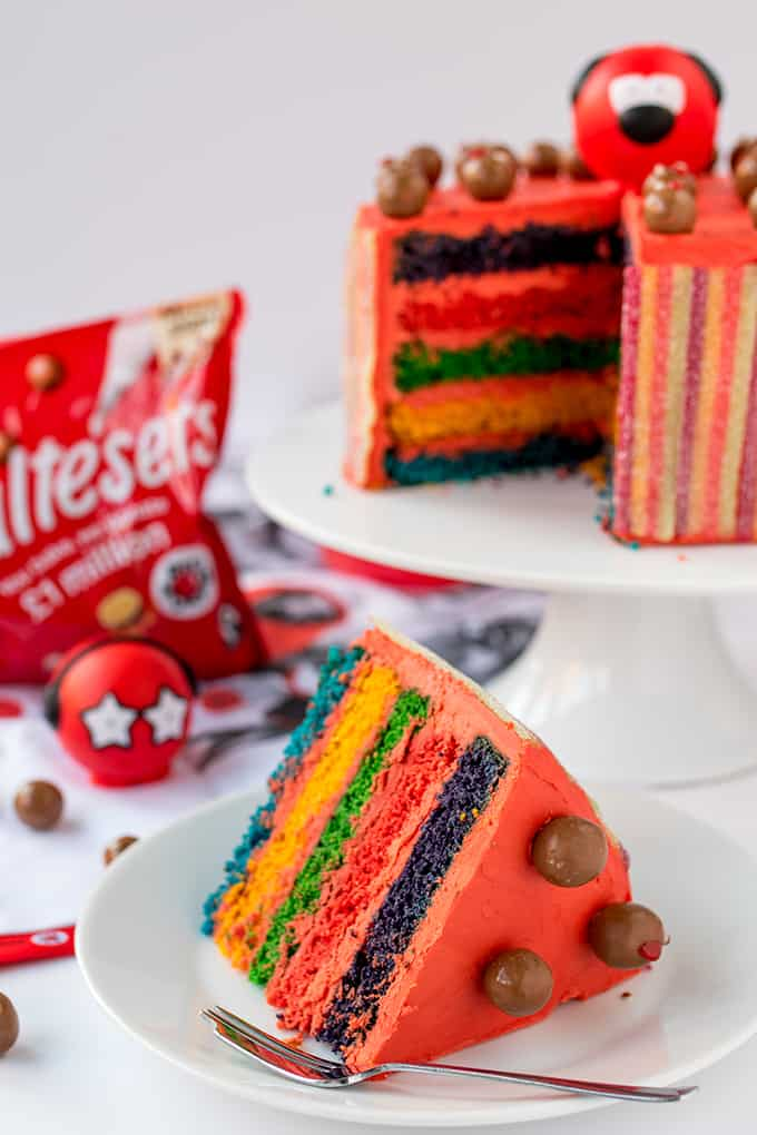Colourful Layers, Vimto Buttercream And Fizzy Rainbow Belt Coating - Finished Off With Little Malteser Faces! All the right ingredients for a wacky Red Nose Day Rainbow Cake!