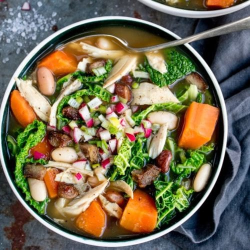 This Three Bone Soup With Veggies and Beans is a great way to make the most of your leftovers! Filling, tasty and easily made gluten free too!