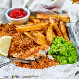 Baked Fish and Chips with Lemon Smashed Peas