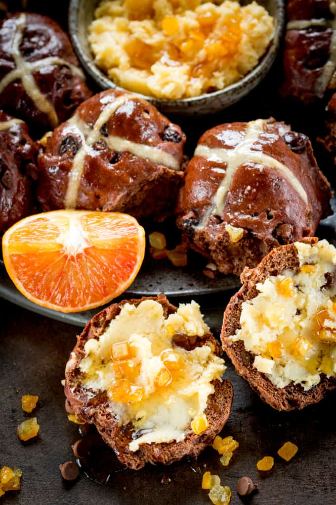 These Chocolate Orange Hots Cross Buns make a great Easter dessert or Breakfast! Serve warm, cold or lightly toasted with easy orange honey butter!