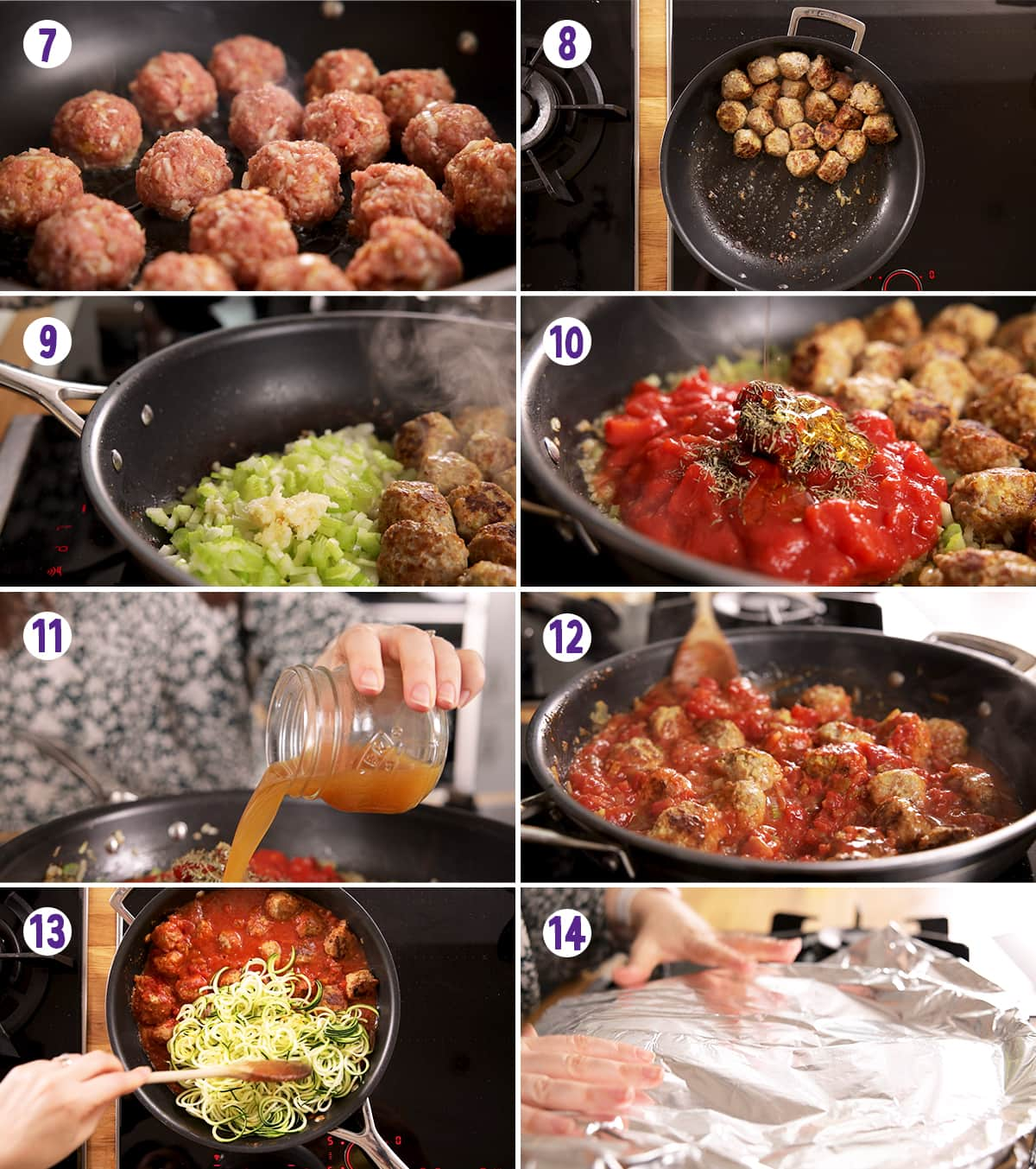 8 image collage showing final steps for making turkey meatballs with courgetti