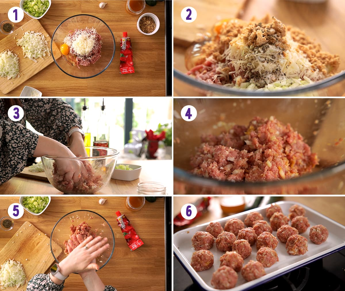 6 image collage showing initial steps for making turkey meatballs
