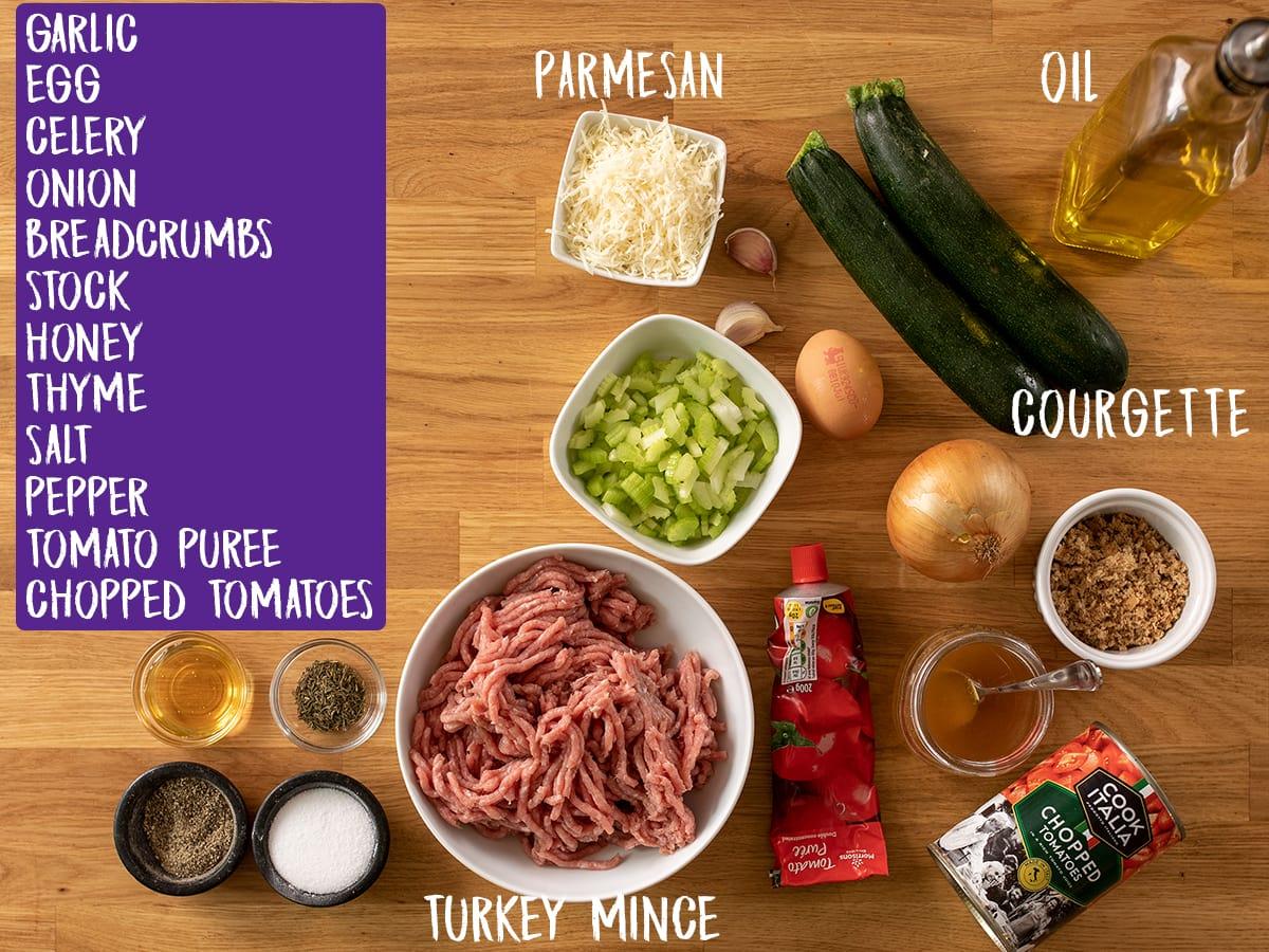 Ingredients for Turkey Meatballs on a wooden board