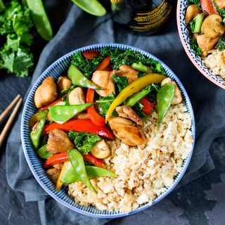 Honey and Garlic Chicken Stir Fry with Cauliflower Egg Fried Rice