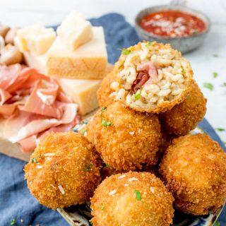 Mushroom and Grana Padano Arancini Stuffed with Prosciutto di San Daniele