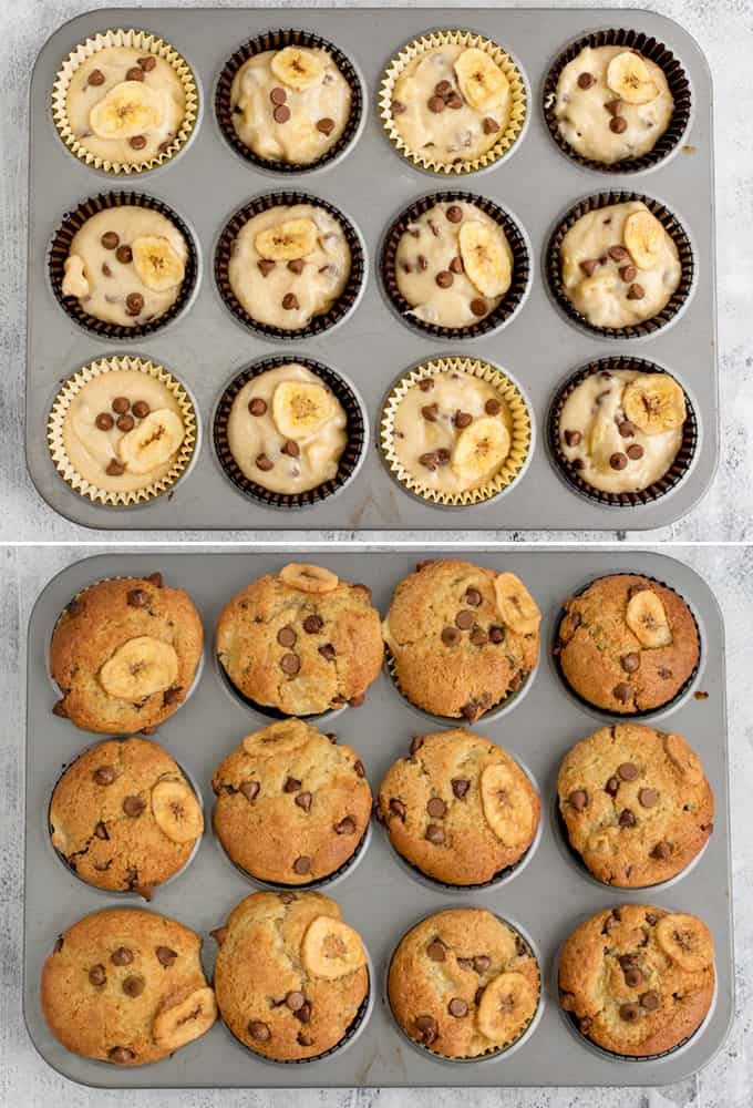 Process shots for Bakery Style Chocolate Chip Banana Muffins showing the mixture in the tray befor and after cooking