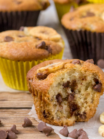 Light and fluffy Bakery Style Chocolate Chip Banana Muffins - great for breakfast on the go!