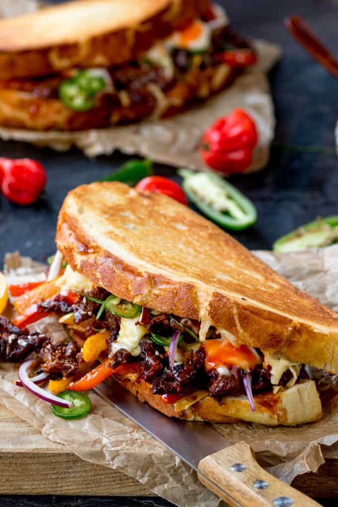 Close up of Korean Steak Sandwich