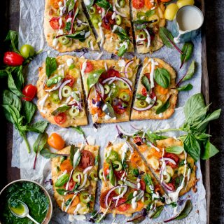 Vegetarian Summer Tomato Pizza with Basil Garlic Butter