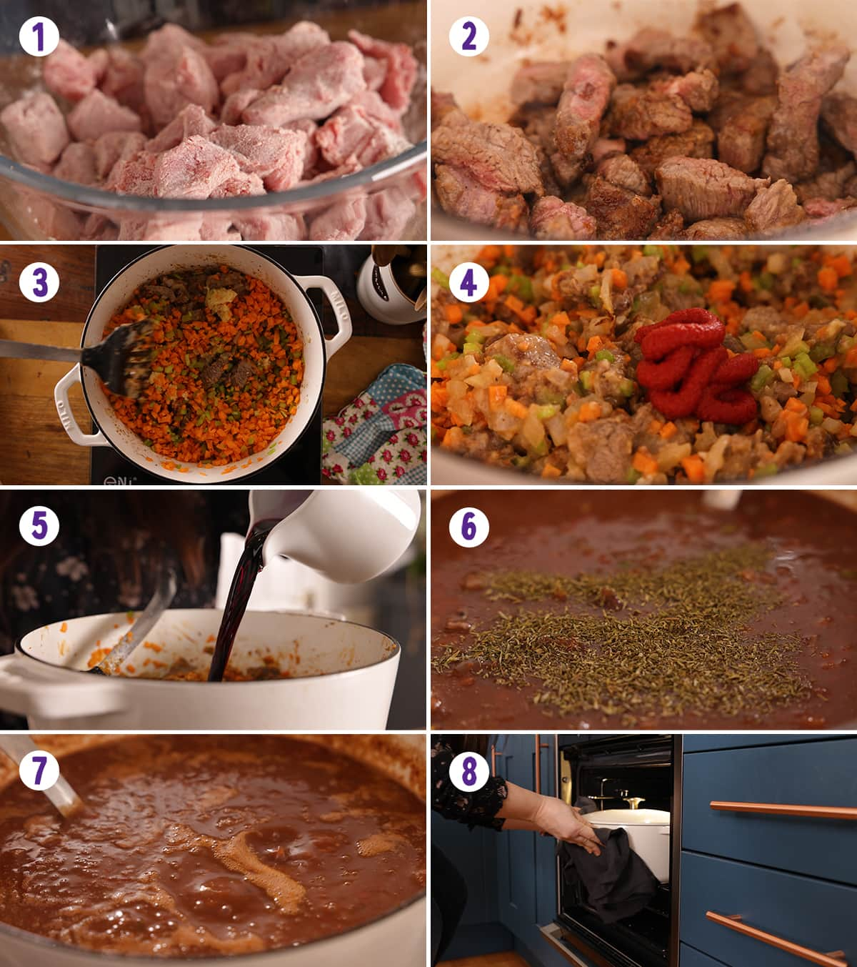 8 image collage showing how to make beef ragu
