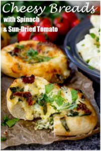 Cheese Stuffed Bread with Spinach and Sun Dried Tomato makes a great vegetarian lunch - Easy to make and ready in 20 mins!